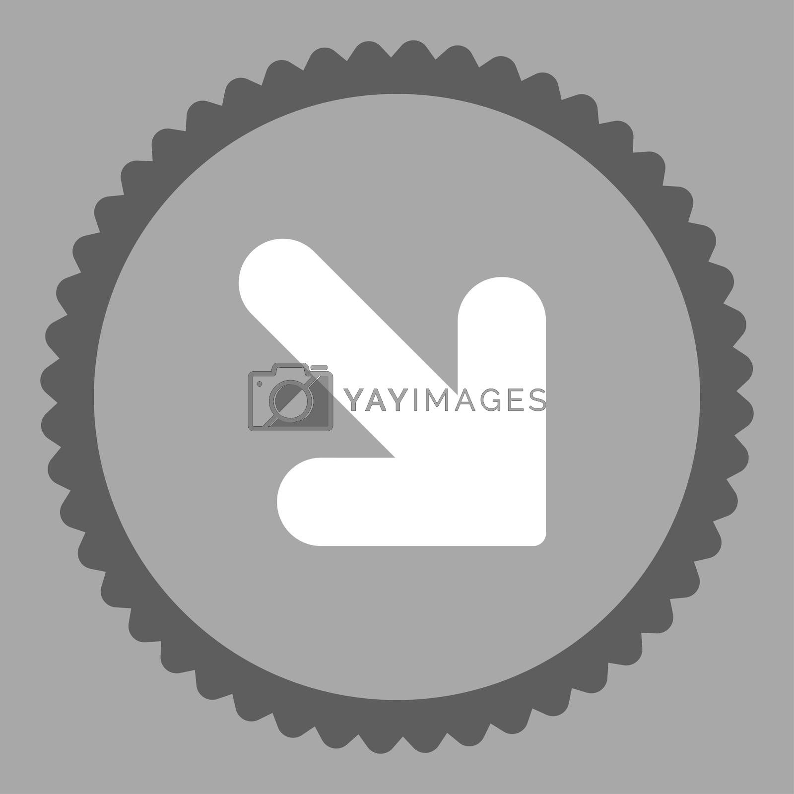 Arrow Down Right flat dark gray and white colors round stamp icon by Aha-Soft