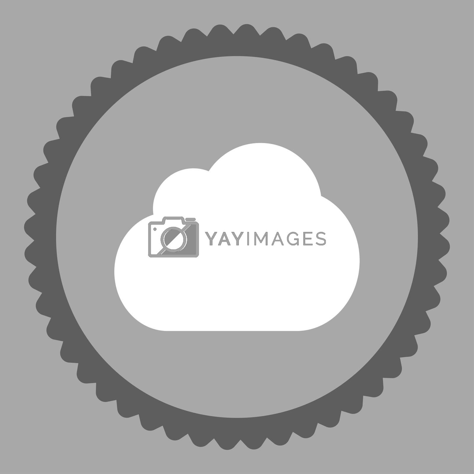 Cloud flat dark gray and white colors round stamp icon by Aha-Soft