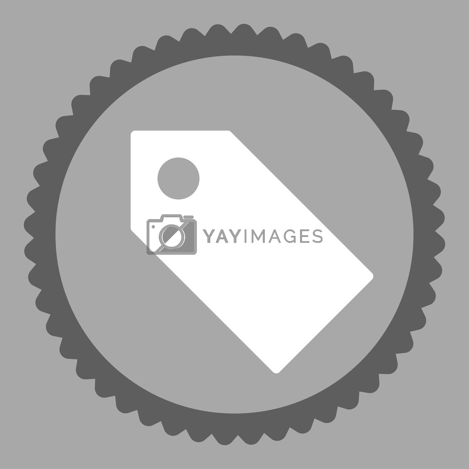 Tag flat dark gray and white colors round stamp icon by Aha-Soft