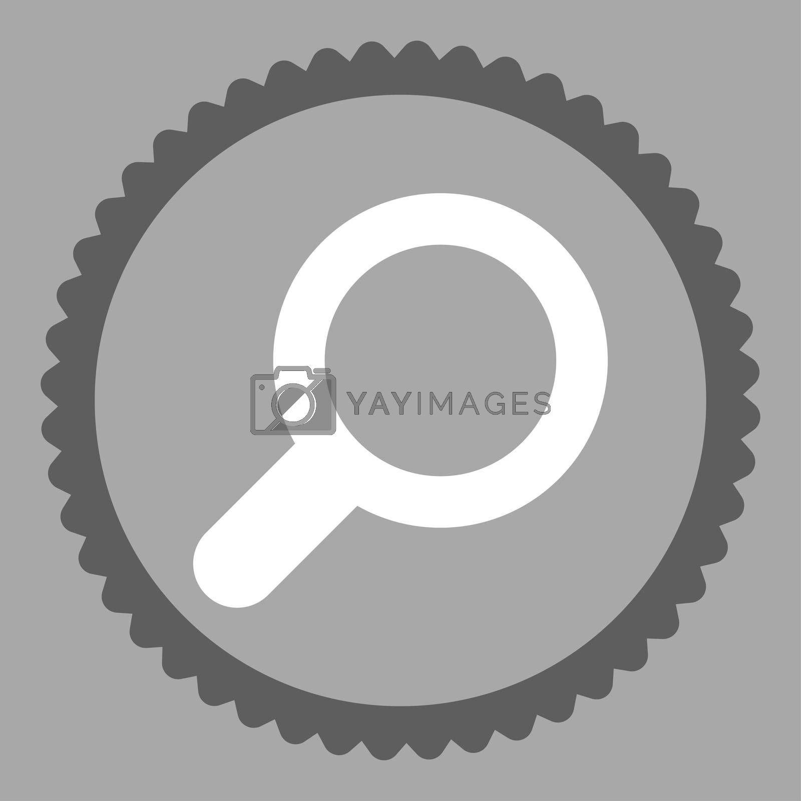 View flat dark gray and white colors round stamp icon by Aha-Soft