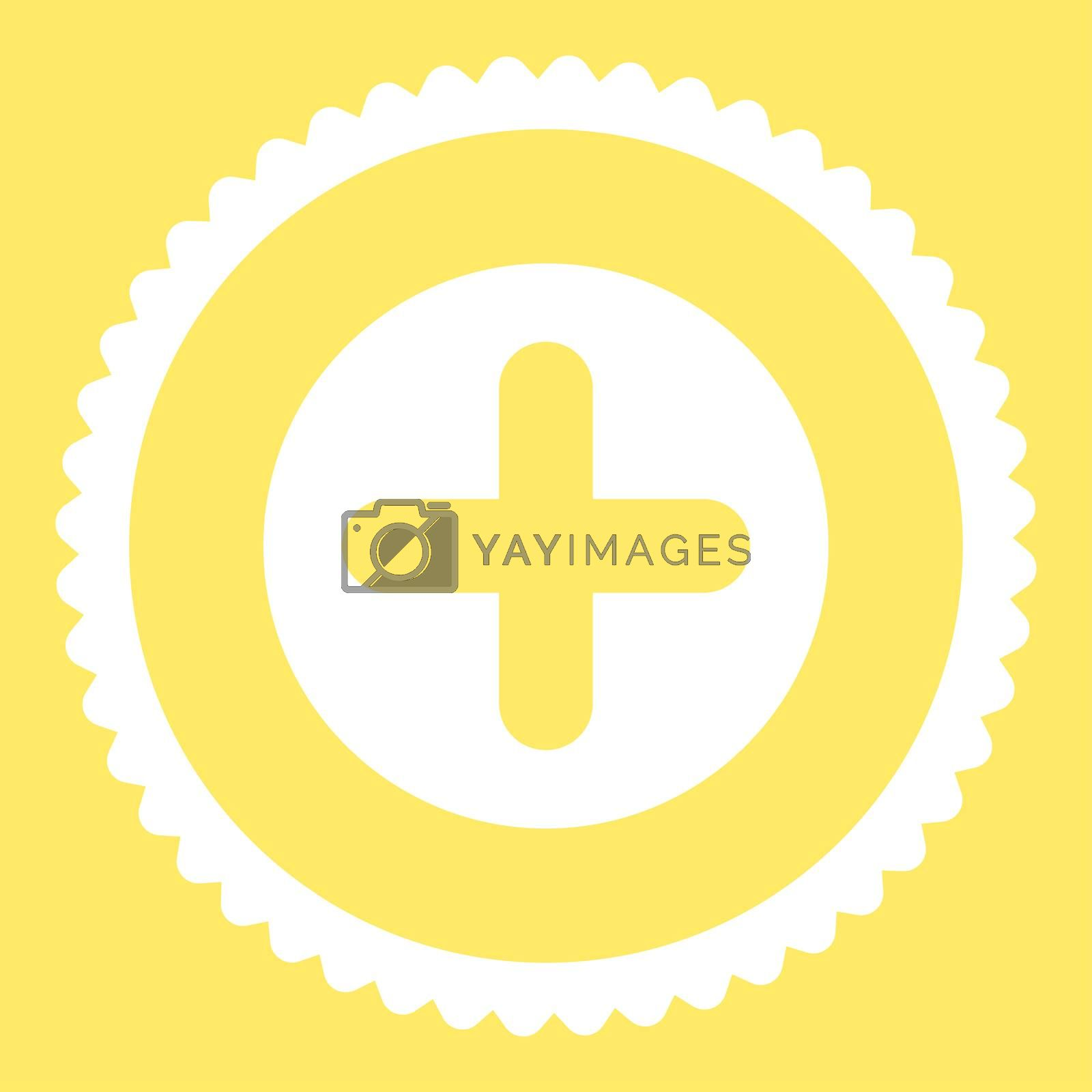 Create flat white color round stamp icon by Aha-Soft