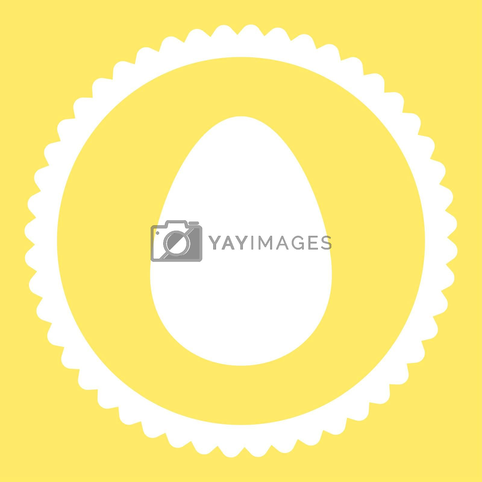 Egg flat white color round stamp icon by Aha-Soft