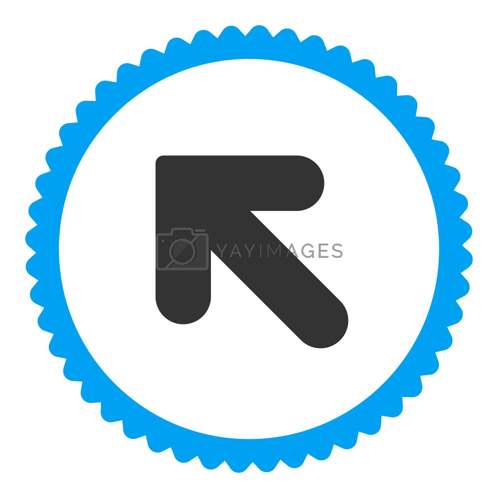 Arrow Up Left flat blue and gray colors round stamp icon by Aha-Soft