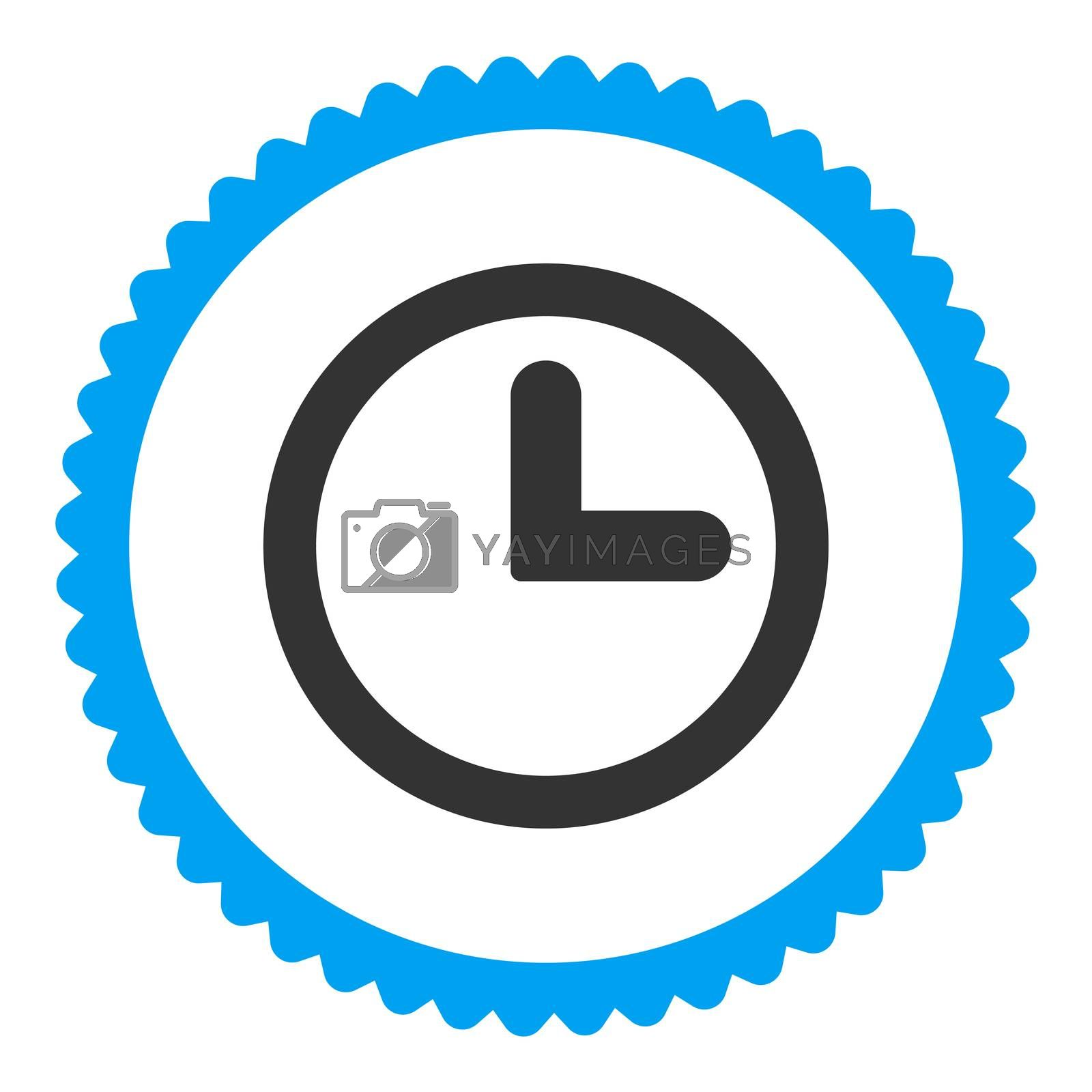 Clock flat blue and gray colors round stamp icon by Aha-Soft