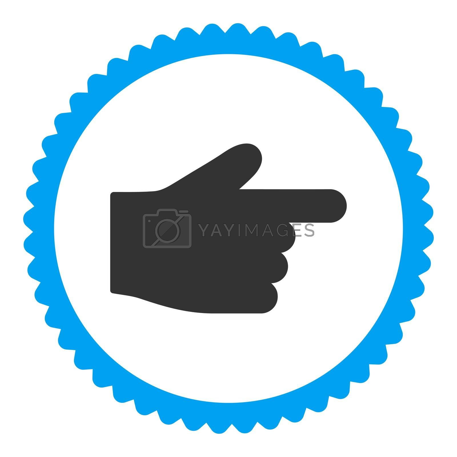 Index Finger flat blue and gray colors round stamp icon by Aha-Soft