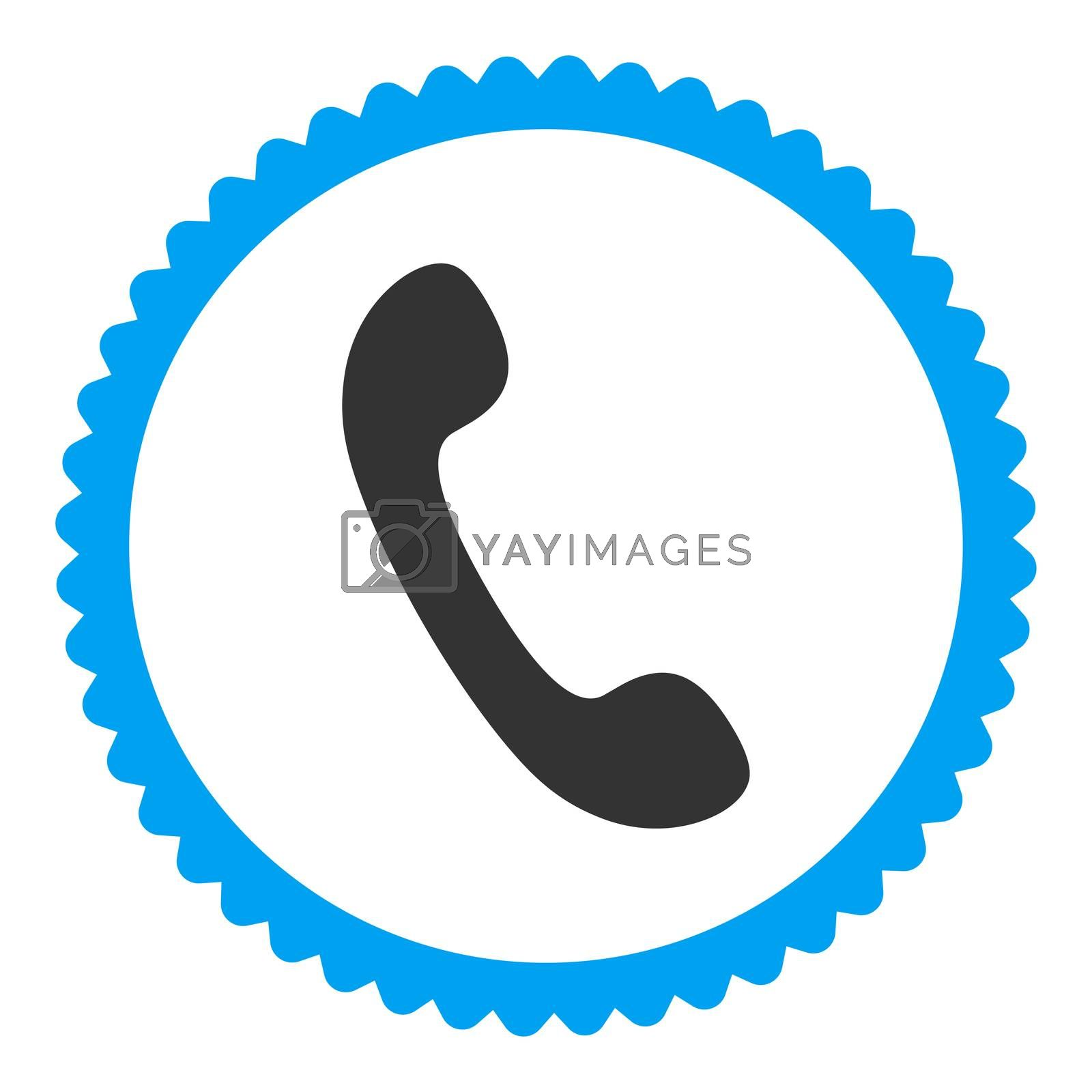 Phone flat blue and gray colors round stamp icon by Aha-Soft