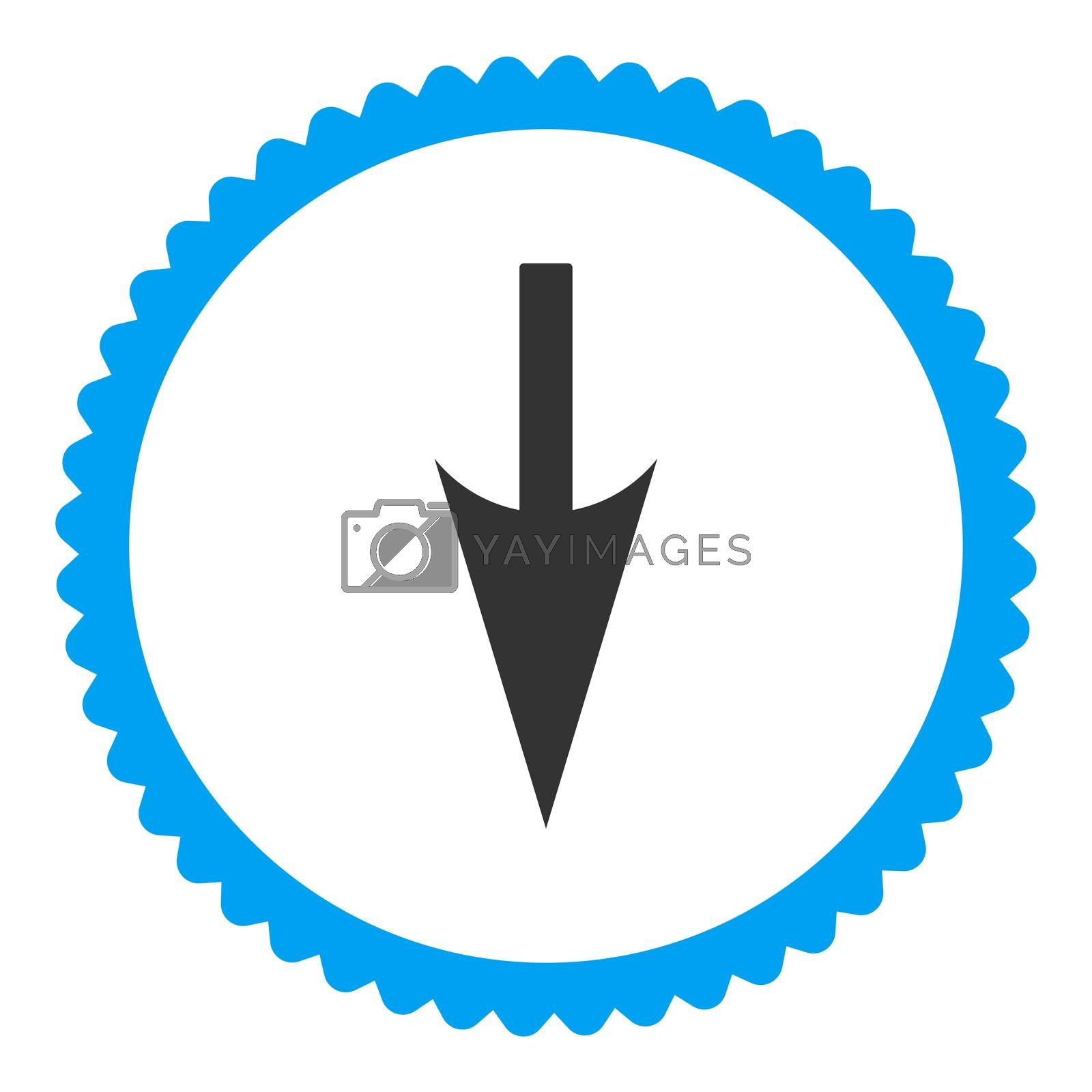 Sharp Down Arrow flat blue and gray colors round stamp icon by Aha-Soft