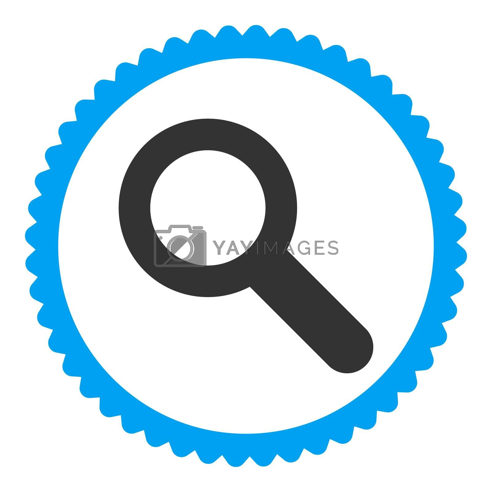 Search flat blue and gray colors round stamp icon by Aha-Soft