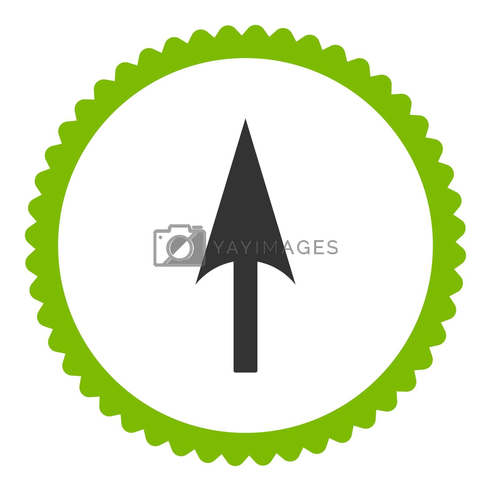 Arrow Axis Y flat eco green and gray colors round stamp icon by Aha-Soft