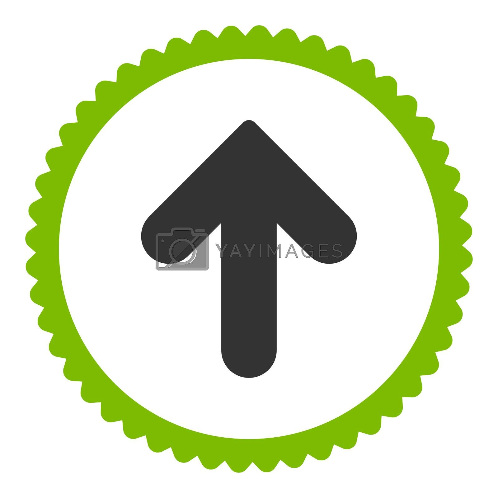 Arrow Up flat eco green and gray colors round stamp icon by Aha-Soft