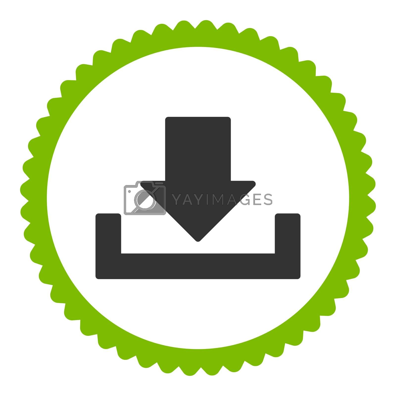 Download flat eco green and gray colors round stamp icon by Aha-Soft