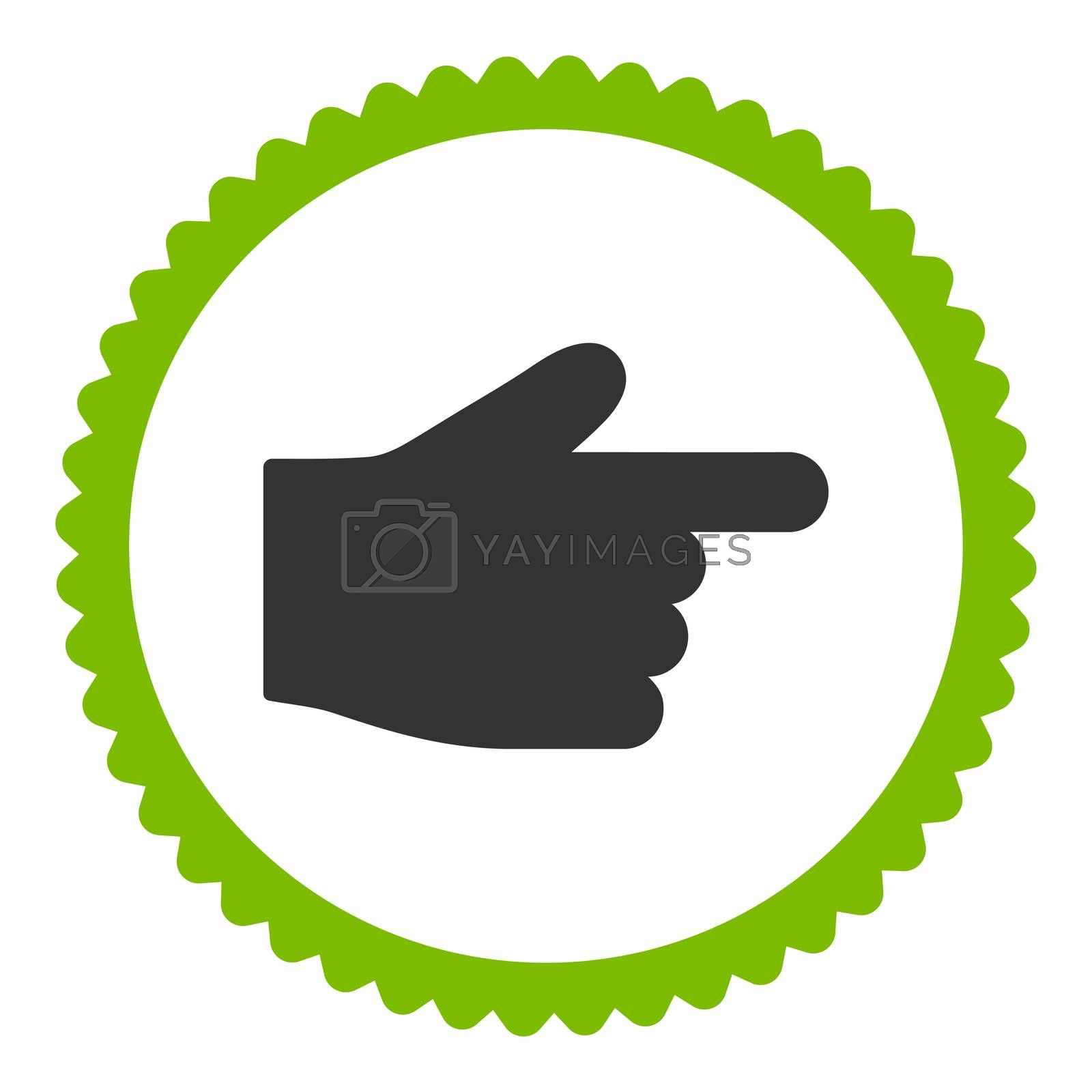 Index Finger flat eco green and gray colors round stamp icon by Aha-Soft