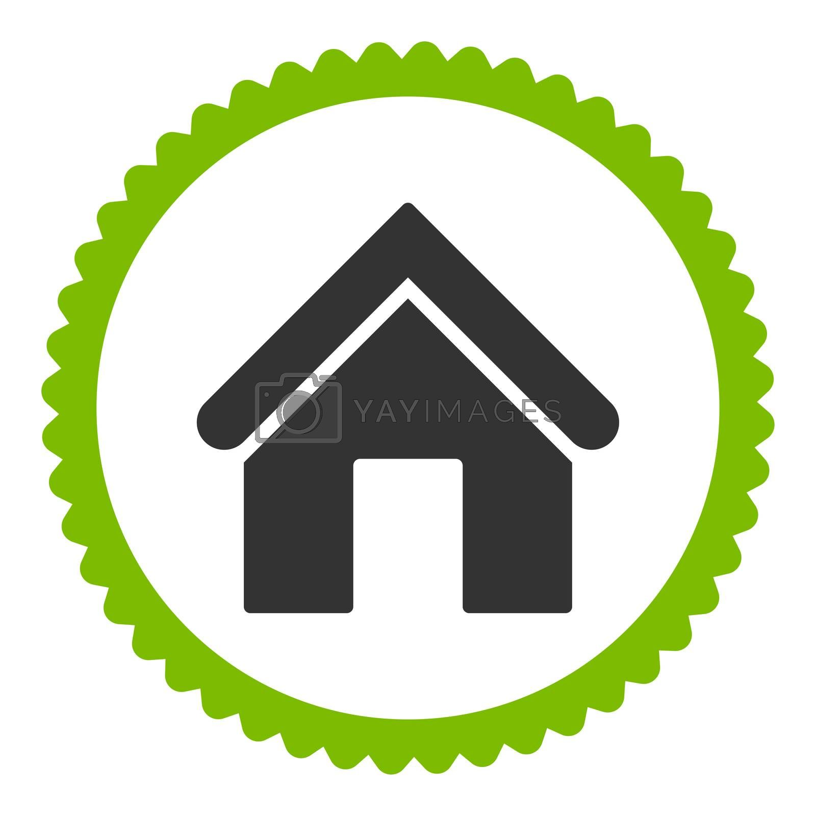 Home flat eco green and gray colors round stamp icon by Aha-Soft