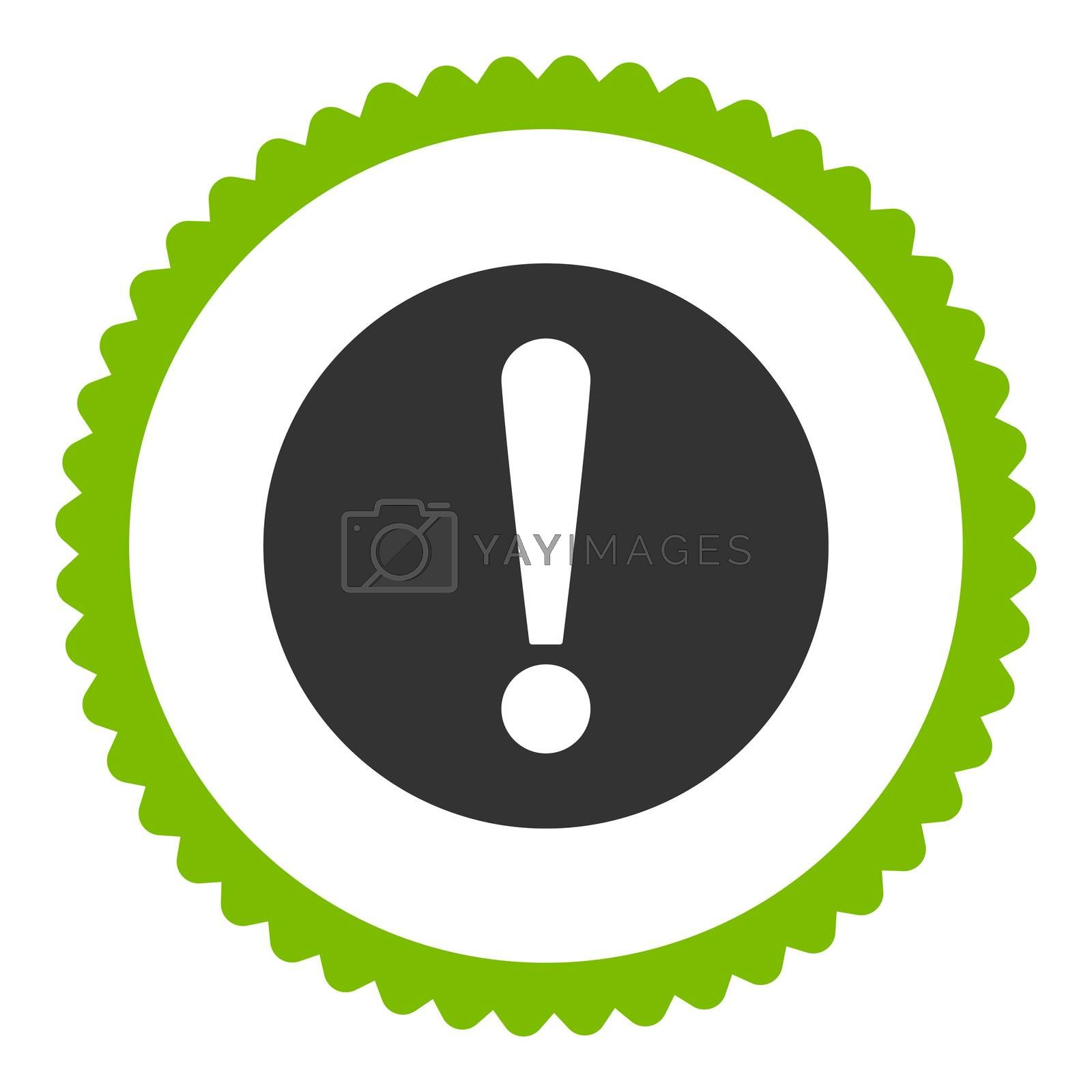 Problem flat eco green and gray colors round stamp icon by Aha-Soft