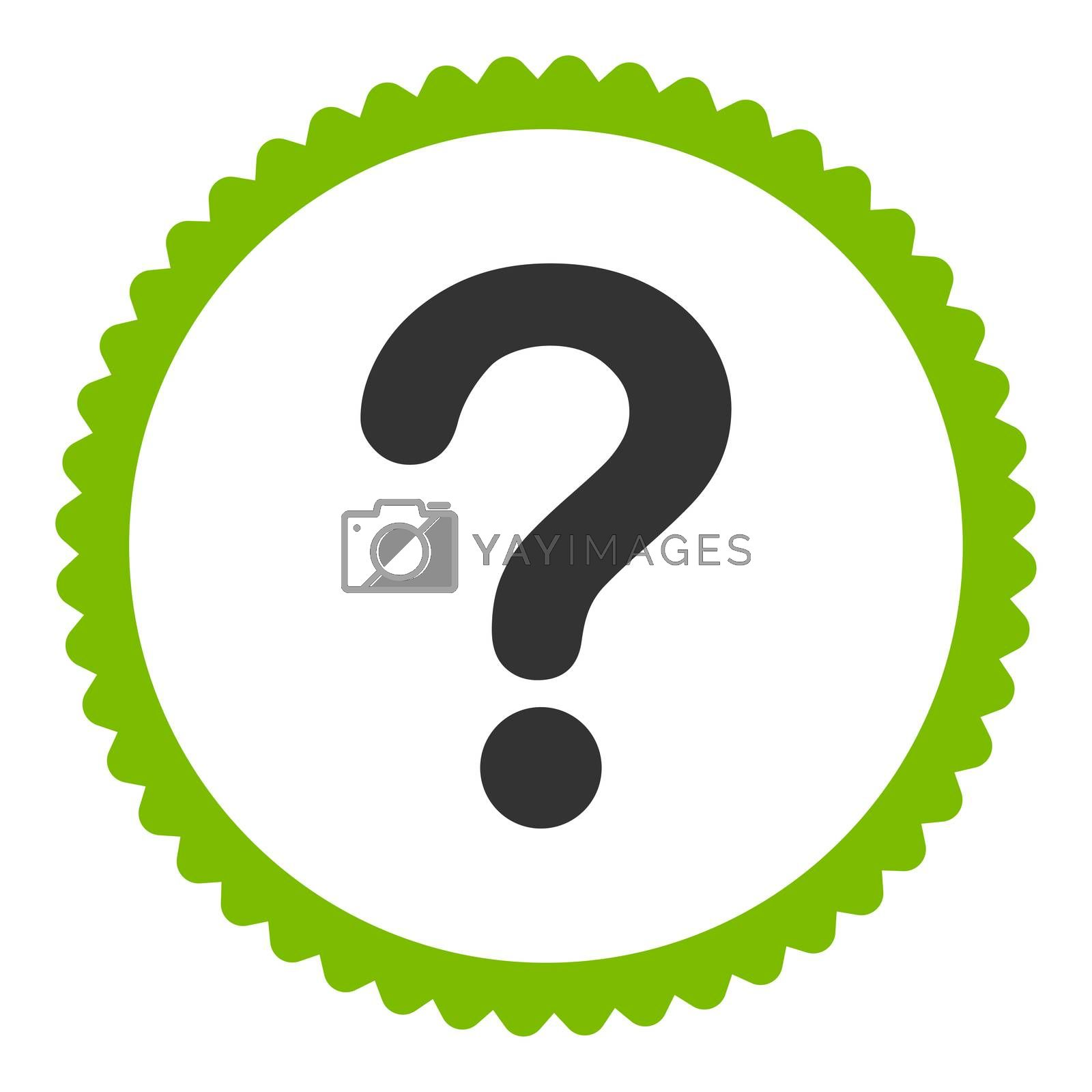 Question flat eco green and gray colors round stamp icon by Aha-Soft