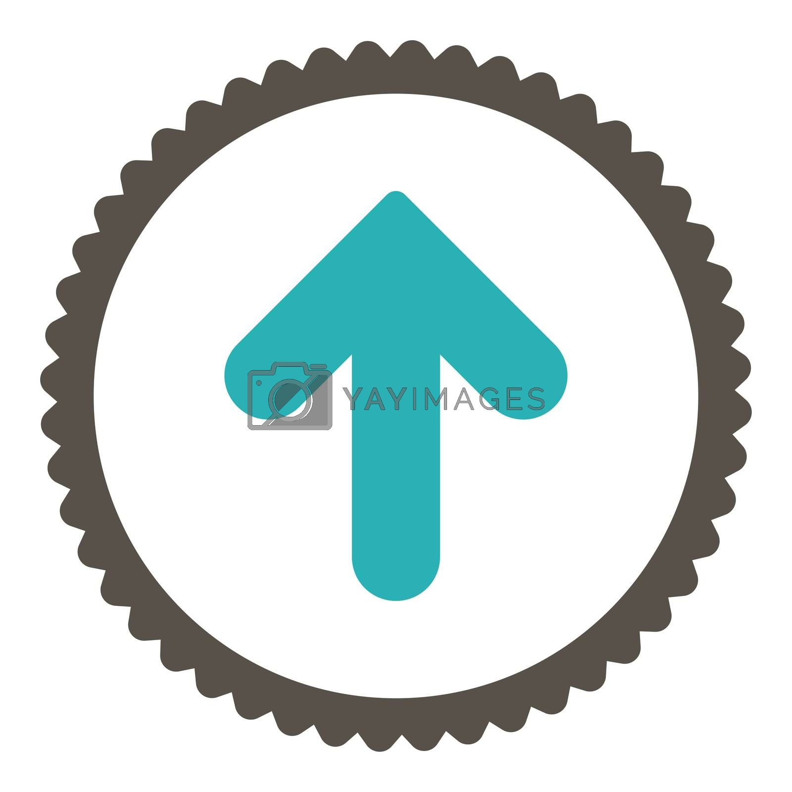Arrow Up flat grey and cyan colors round stamp icon by Aha-Soft
