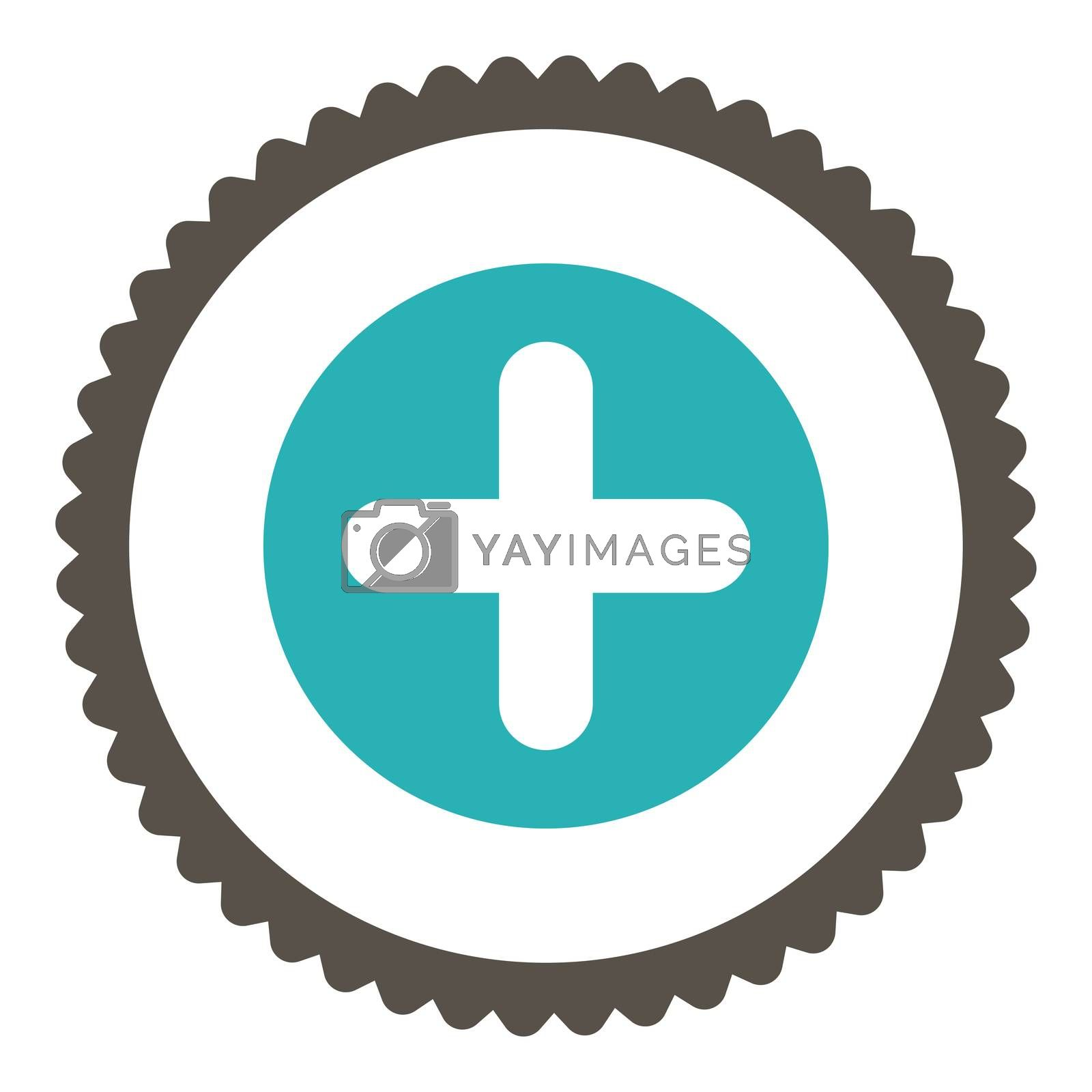 Create flat grey and cyan colors round stamp icon by Aha-Soft