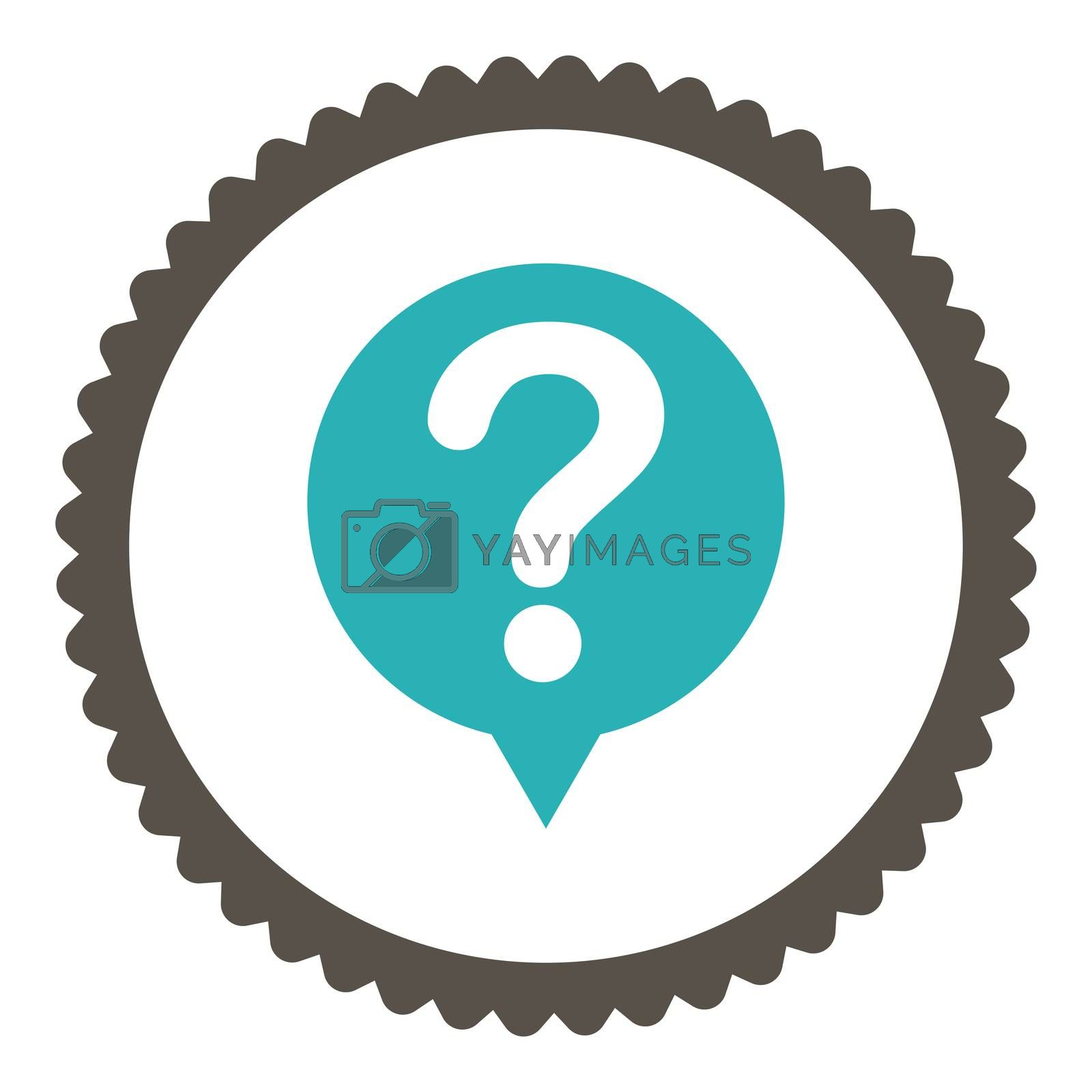Status flat grey and cyan colors round stamp icon by Aha-Soft