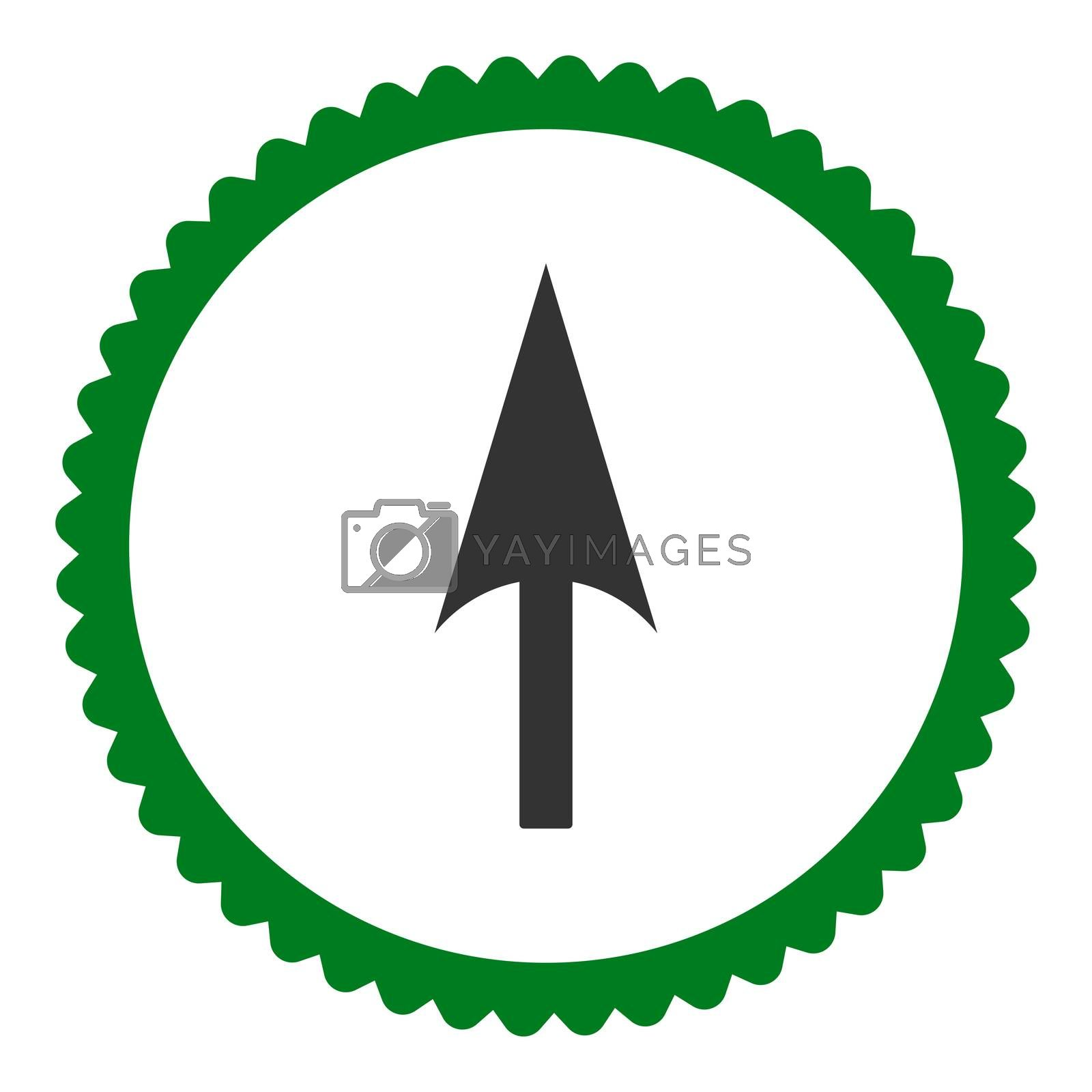 Arrow Axis Y flat green and gray colors round stamp icon by Aha-Soft