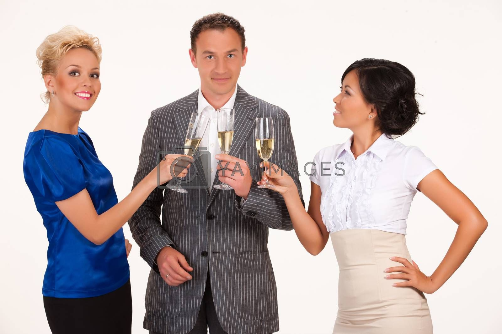Young people drinking the wine from glasses on isolated background