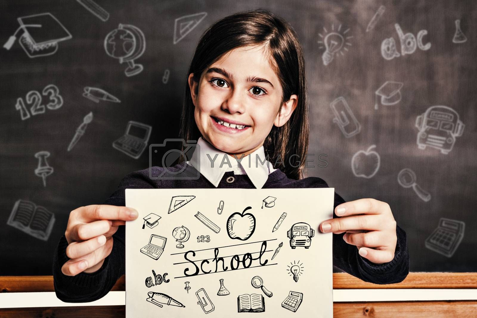 Education doodles against cute pupil showing white page