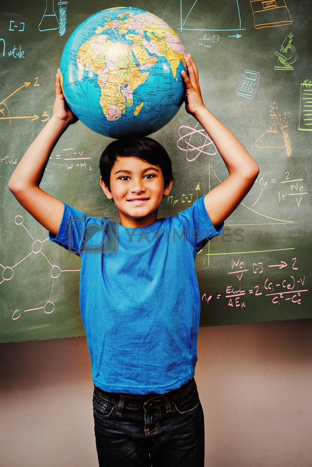 Education doodles against little boy holding globe over head