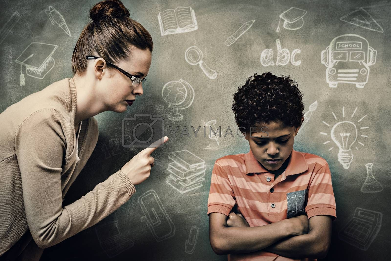 Education doodles against teacher shouting at boy in classroom