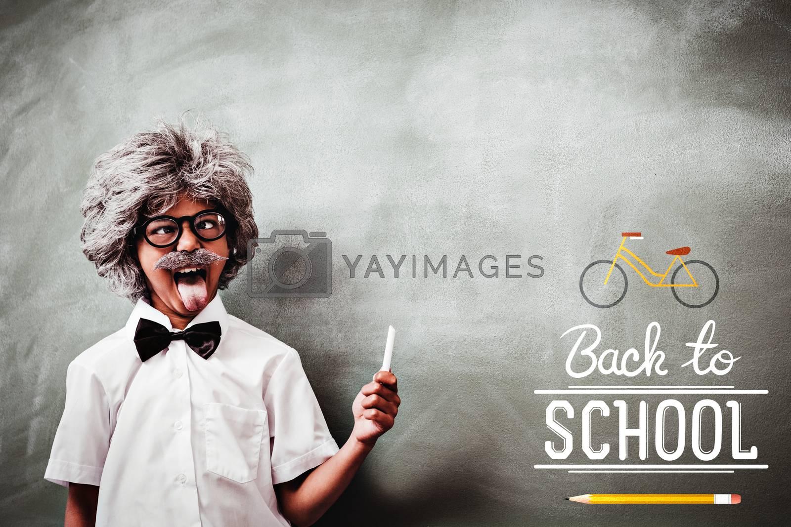back to school against boy dressed as senior teacher in front of blackboard