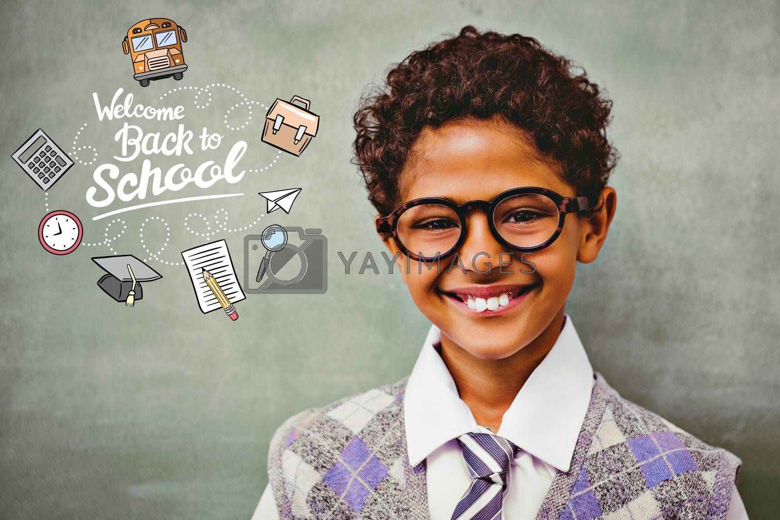 back to school against cute little boy smiling in classroom