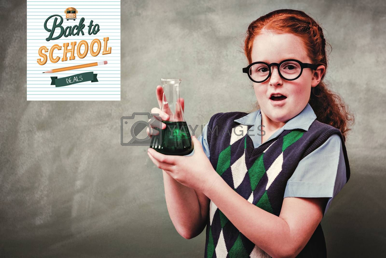 back to school against girl holding conical flask in classroom