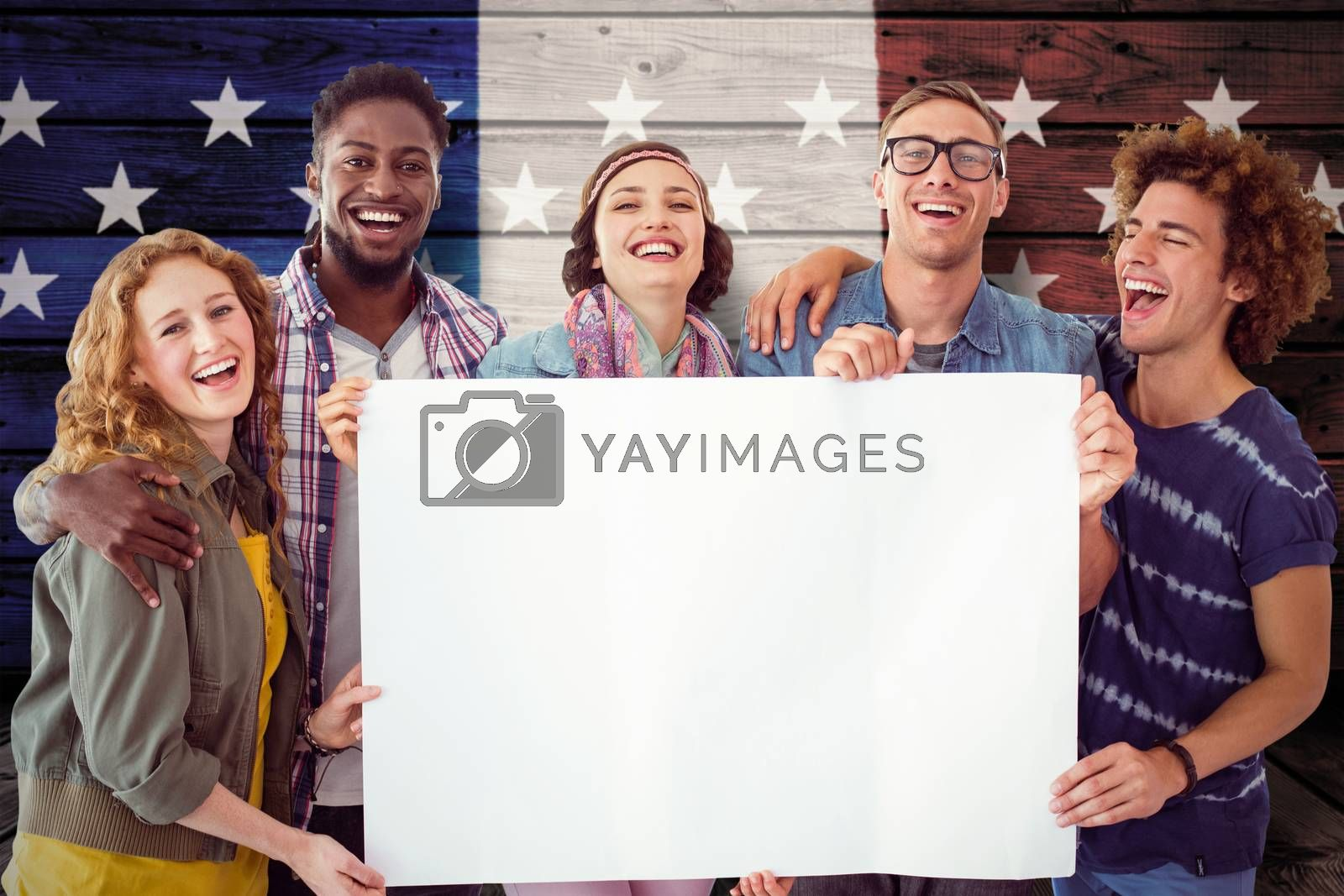 Fashion students smiling at camera together against composite image of usa national flag
