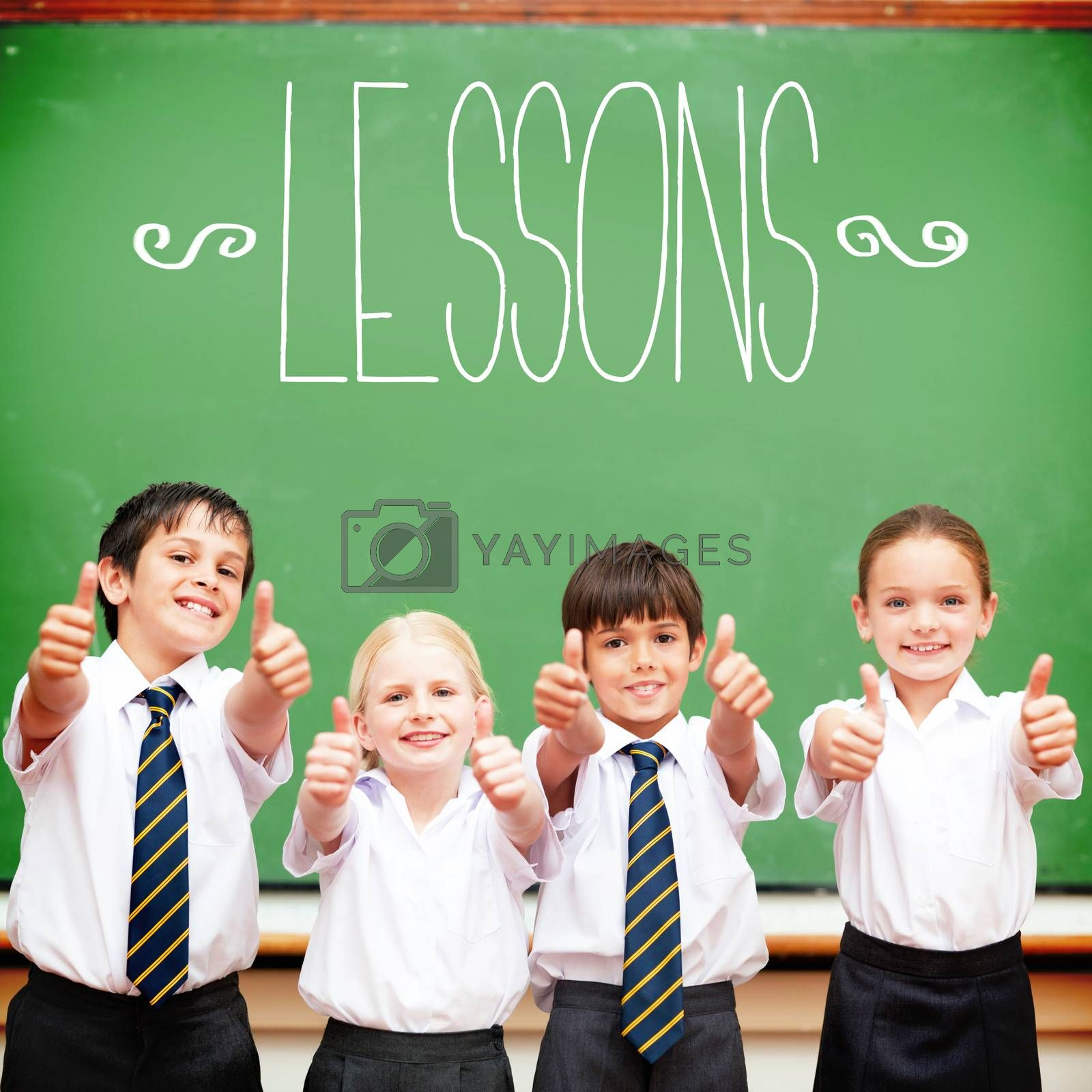 The word lessons against cute pupils showing thumbs up in classroom