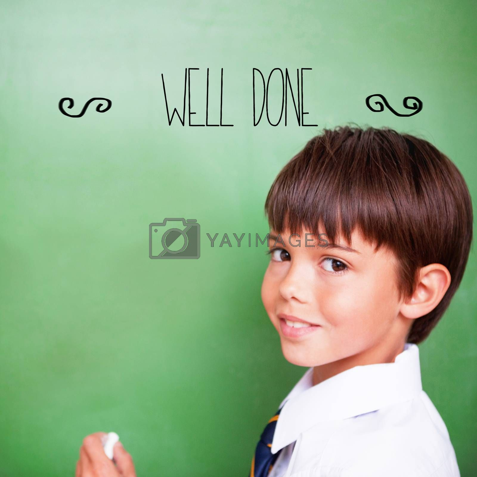 The word well-done! against cute pupil holding chalk