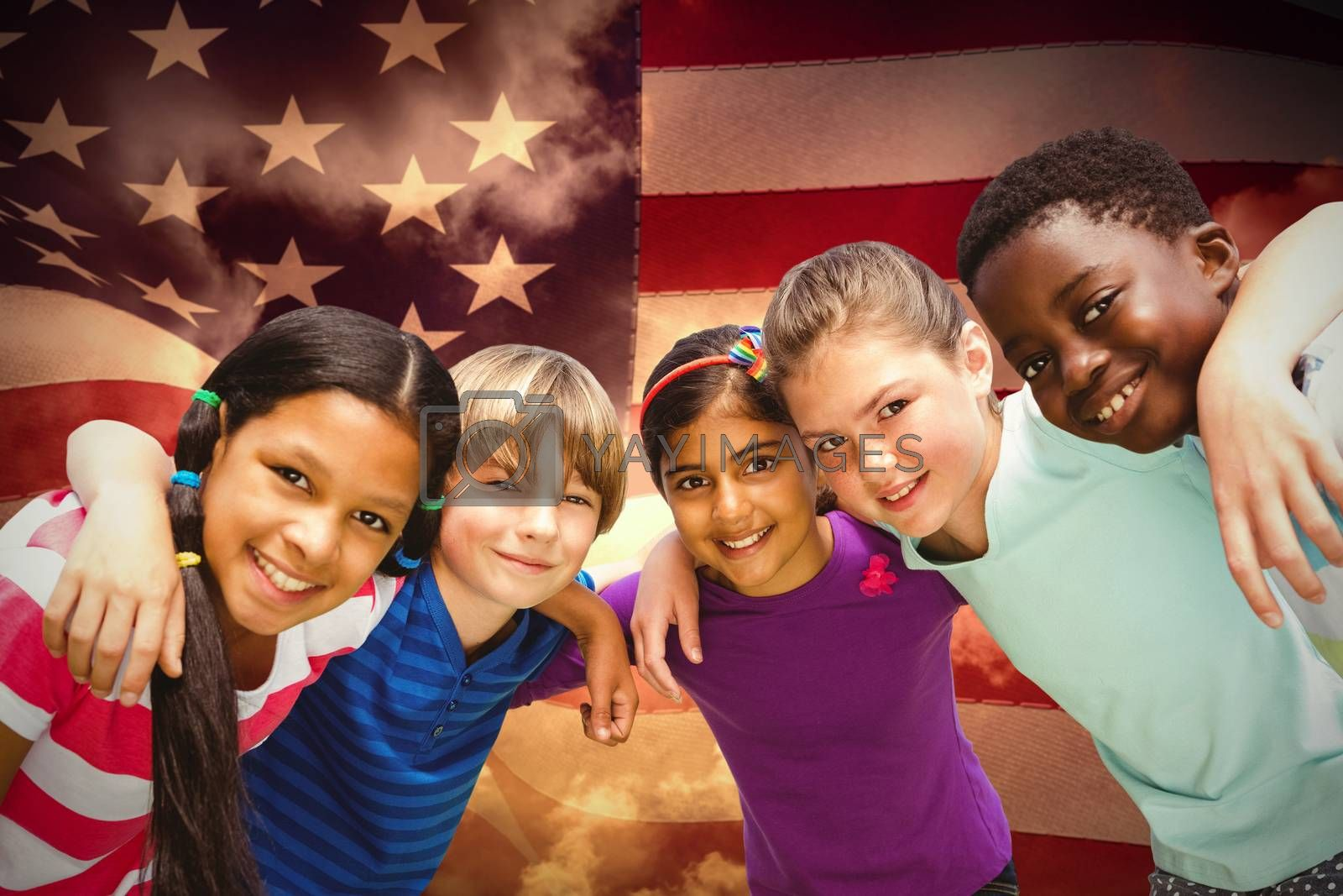 Happy children forming huddle at park against composite image of digitally generated united states national flag
