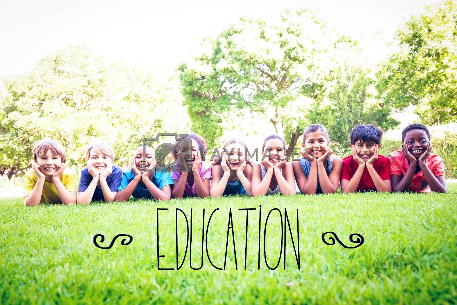 The word education against happy friends in the park