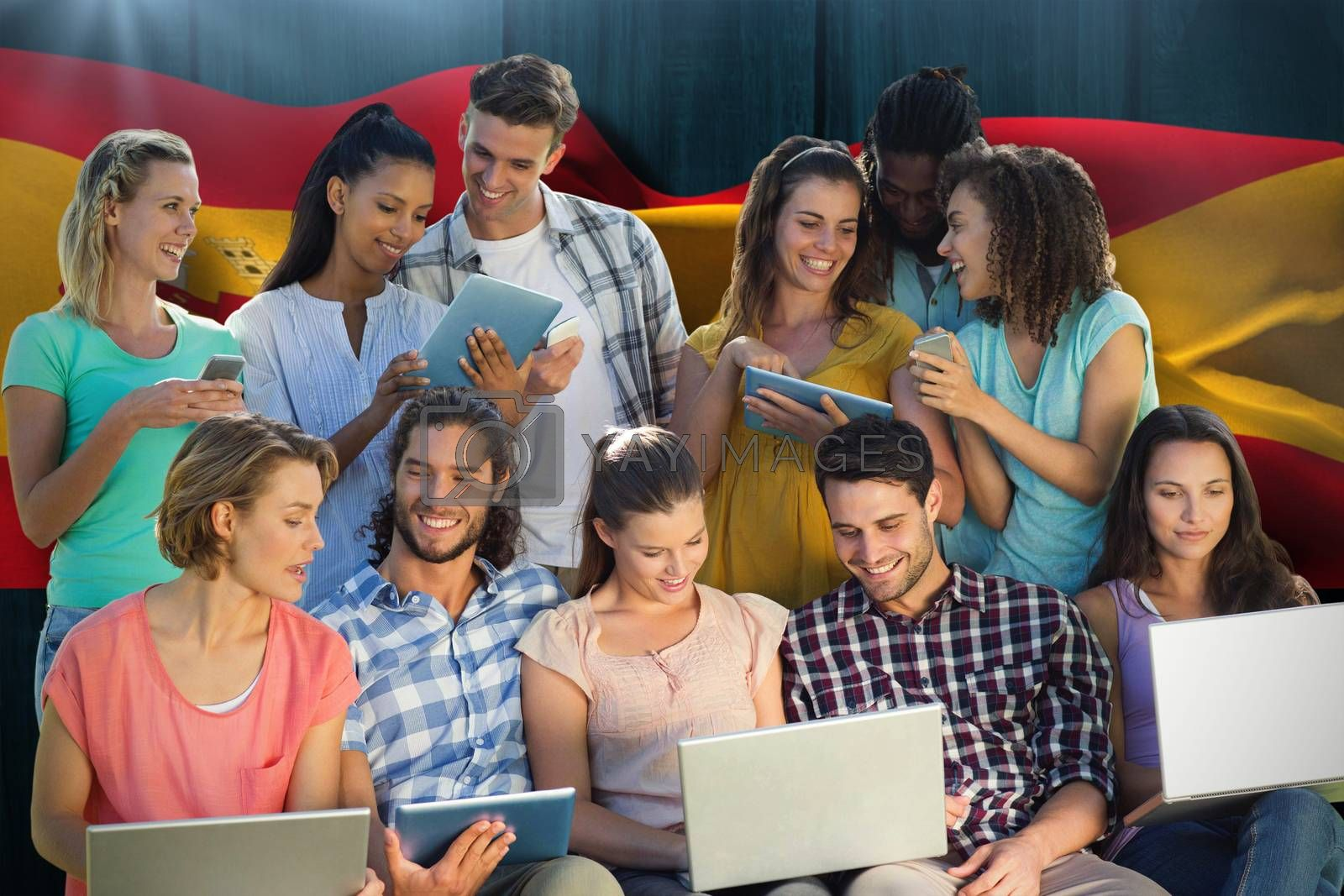 Royalty free image of Composite image of several students using electronic devices by Wavebreakmedia