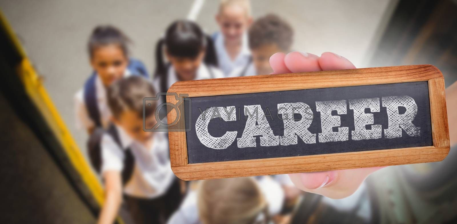 The word career and hand showing chalkboard against cute schoolchildren getting on school bus
