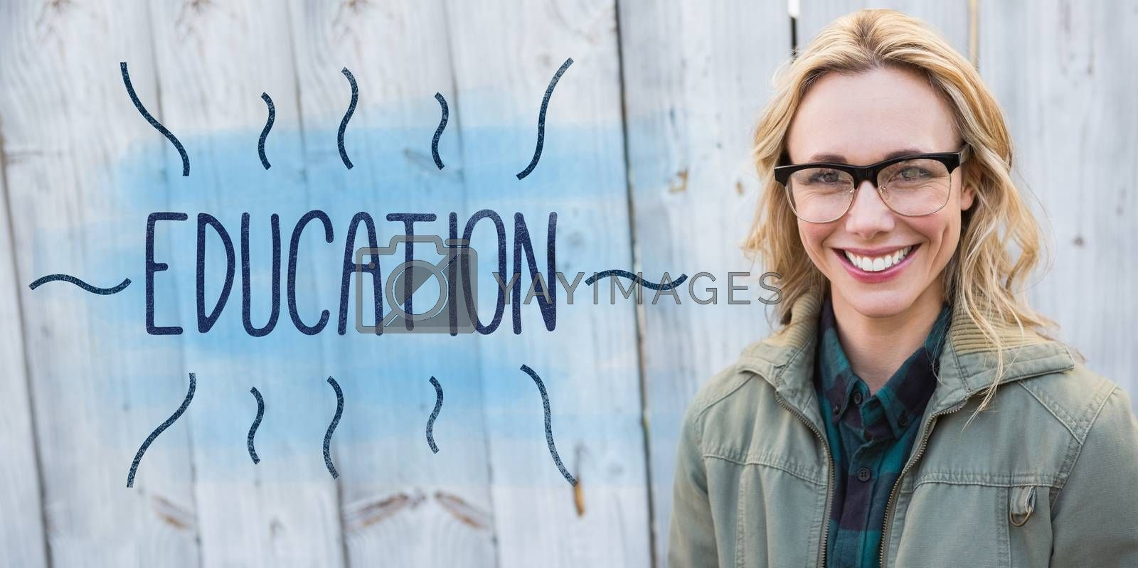 The word education against portrait of blonde in glasses posing