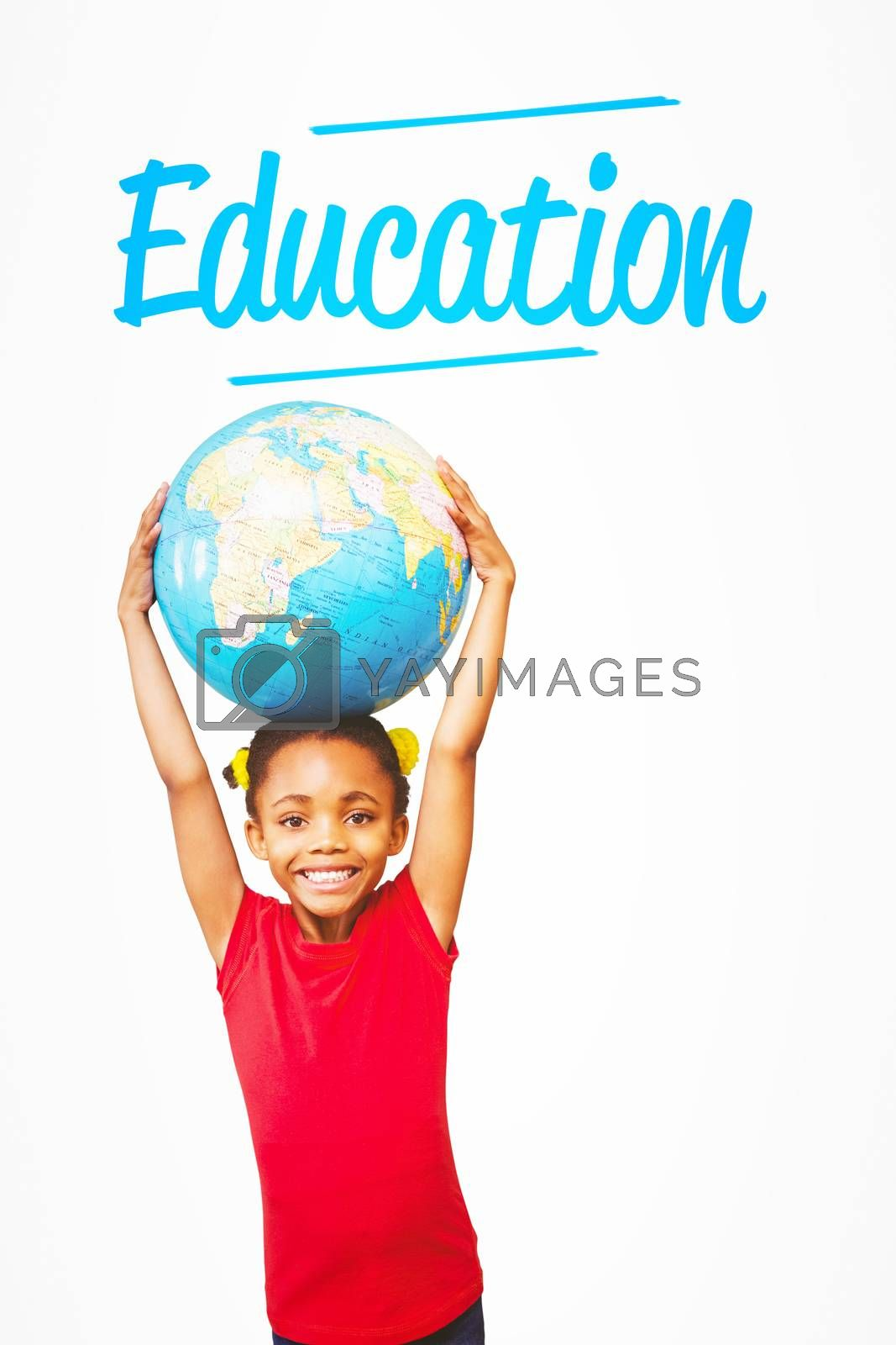 The word education and pupil holding globe against white background with vignette