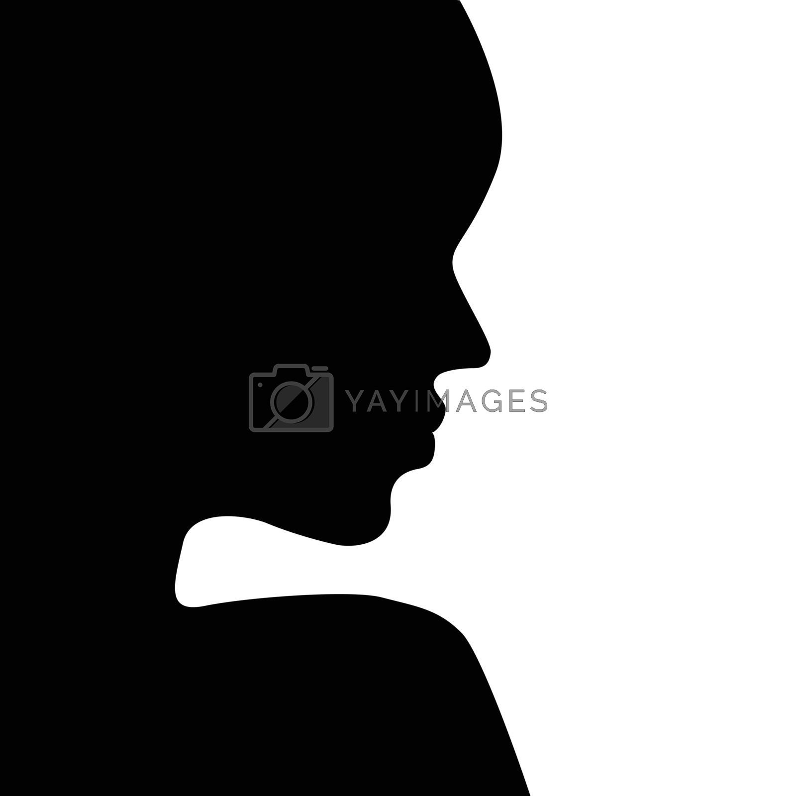 face silhouette isolated on white background vector illustration