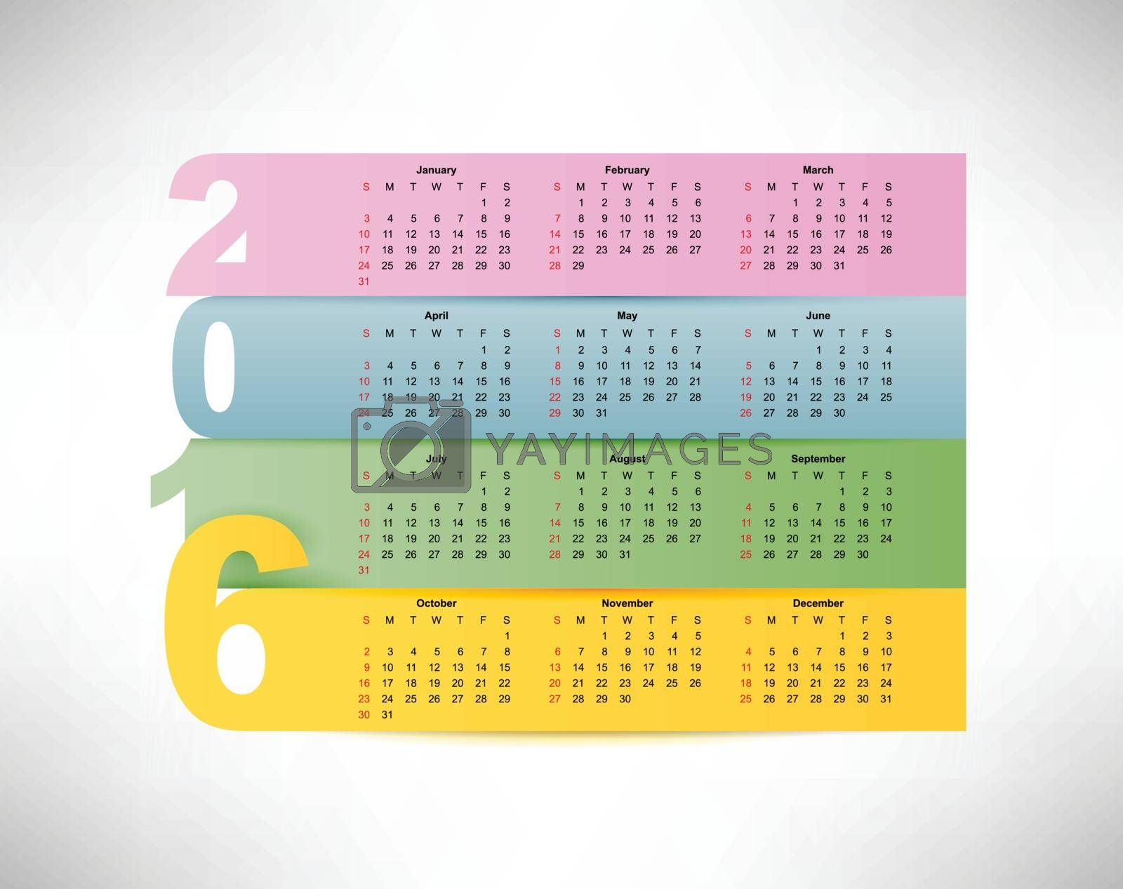 Calendar for 2016 year, weeks starts on monday, eps 10