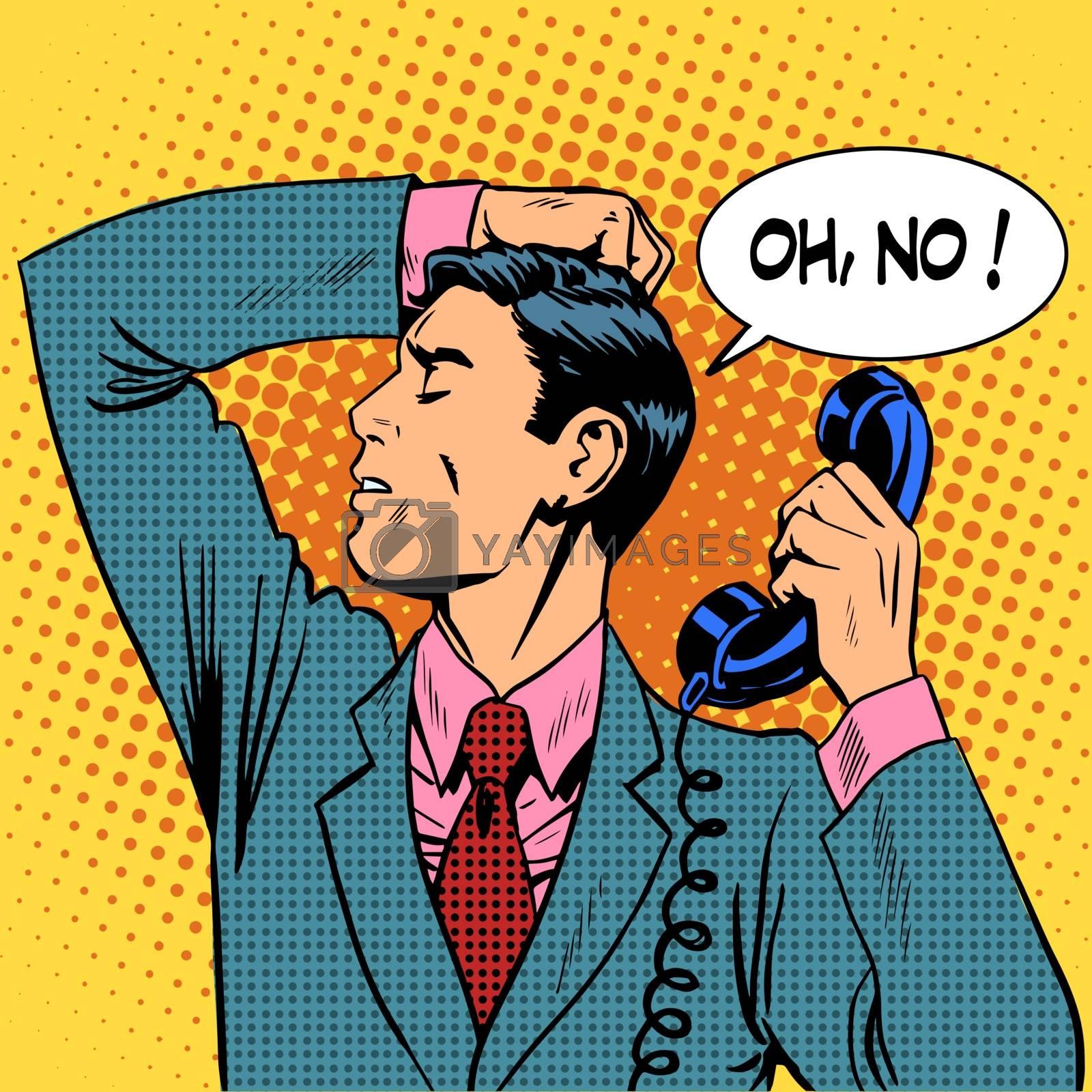 The depressed man talking on phone communication. Retro style pop art