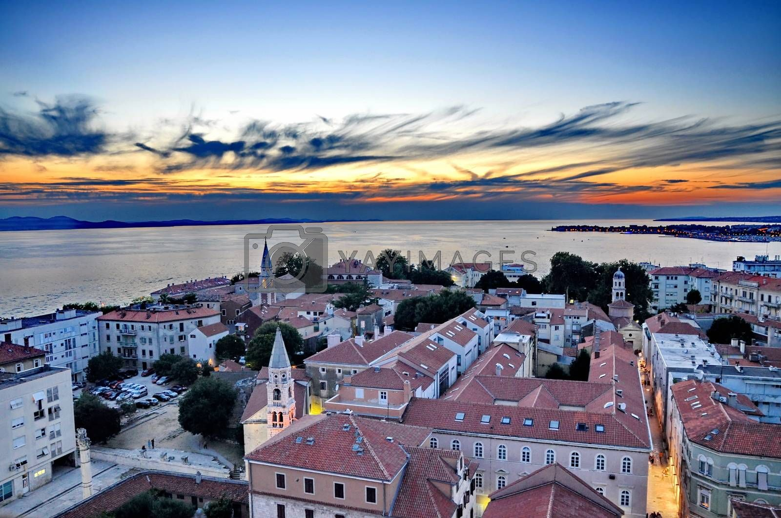 Royalty free image of View of Zadar, Croatia from above at sunset by anderm