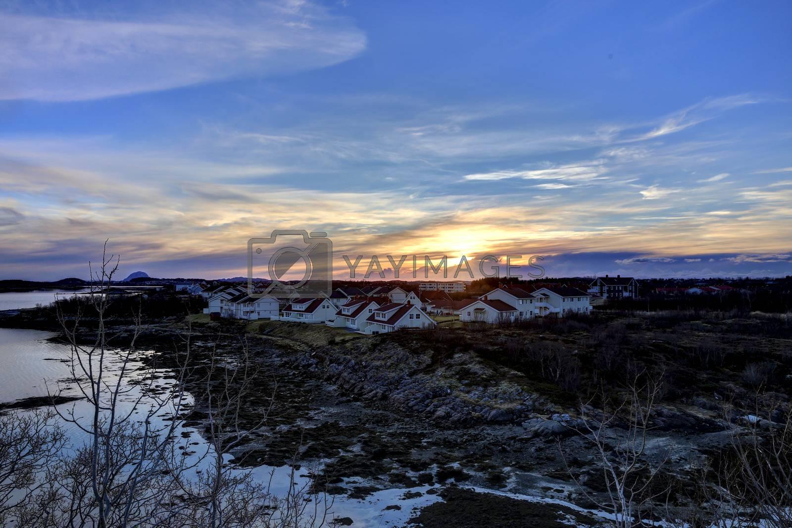Solnedgang i Skarsåsen Mosheim i Brønnøy