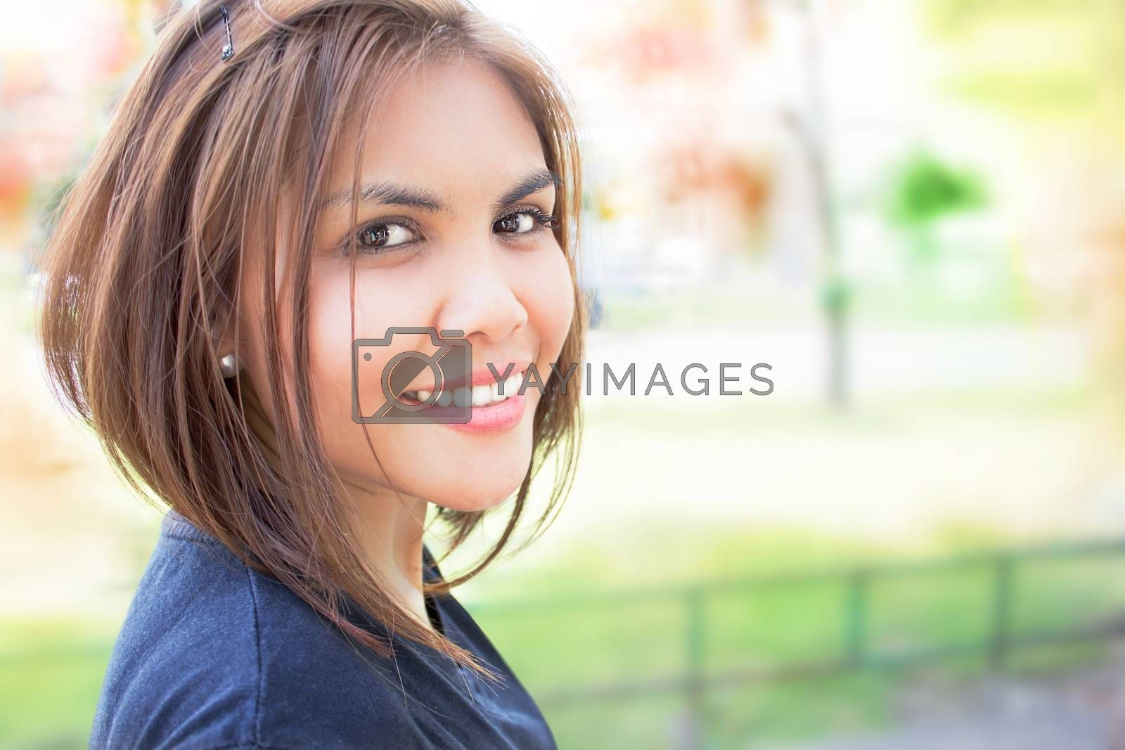 Happy lady with blur background
