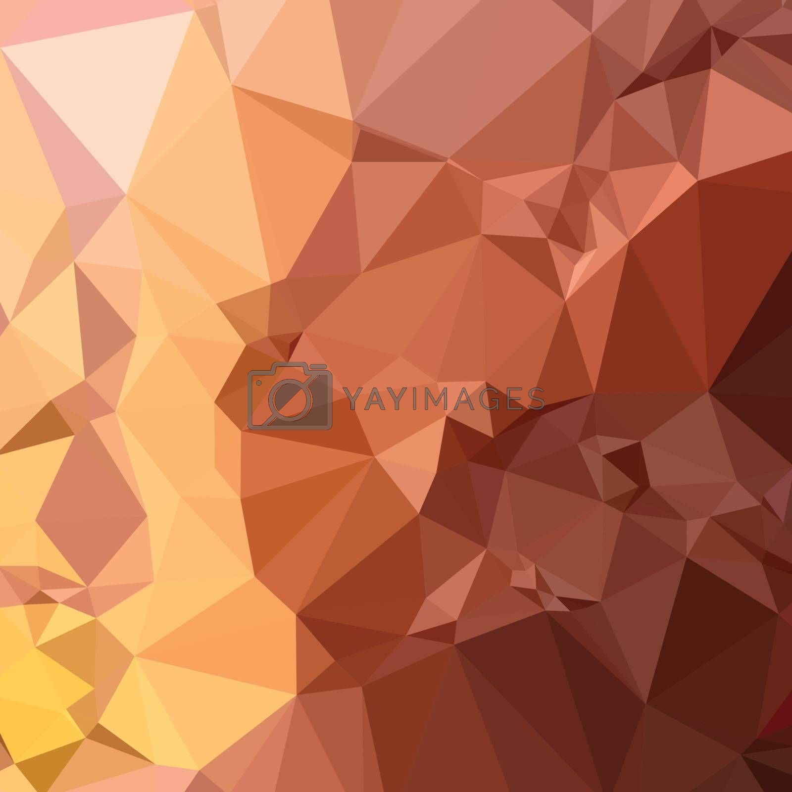 Low polygon style illustration of a cordovan brown abstract geometric background.