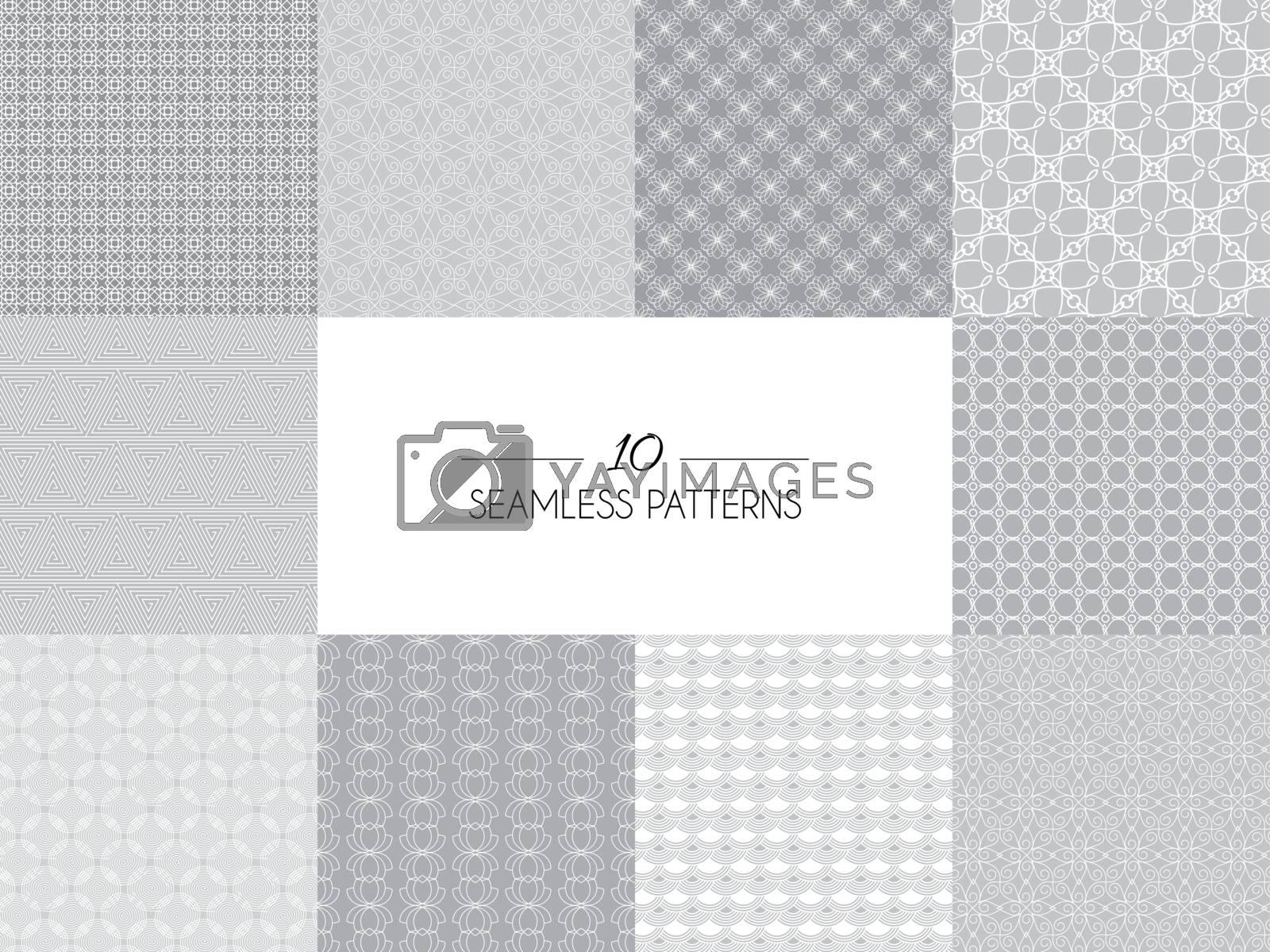 Vector illustration of. Set of geometric seamless patterns