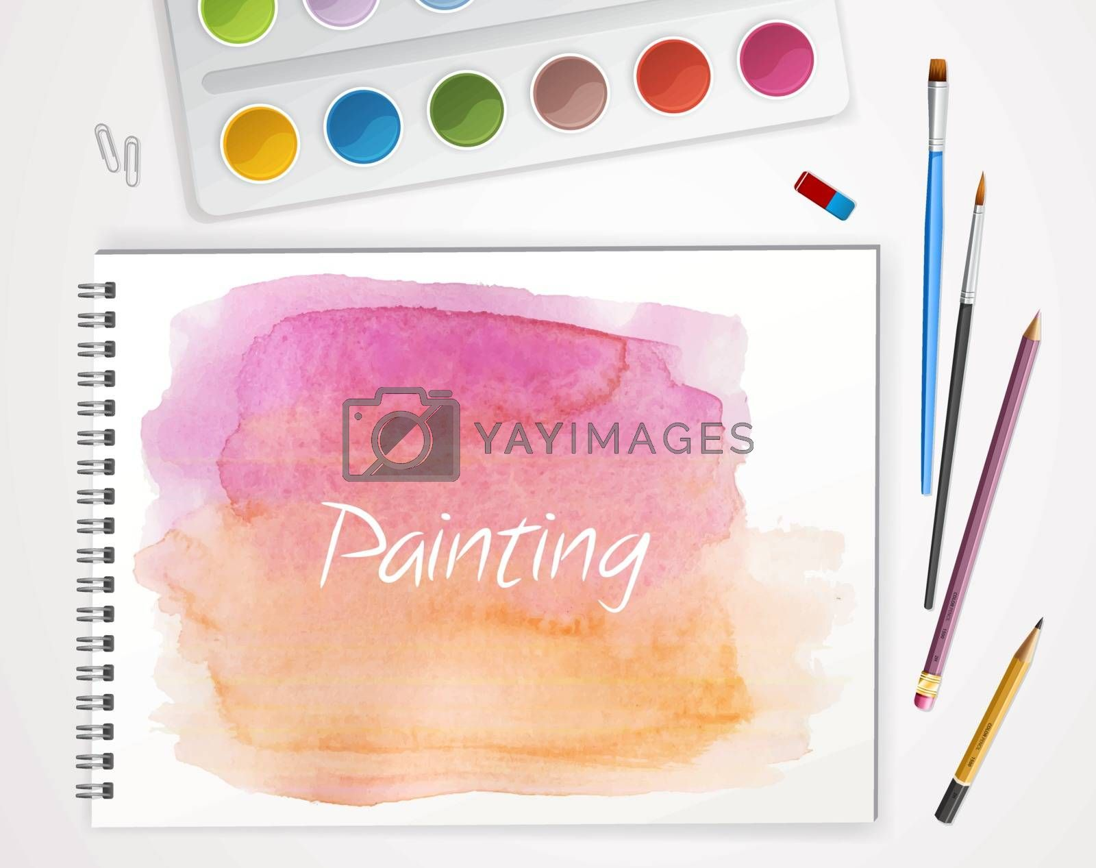 Vector illustration of Art process with watercolor