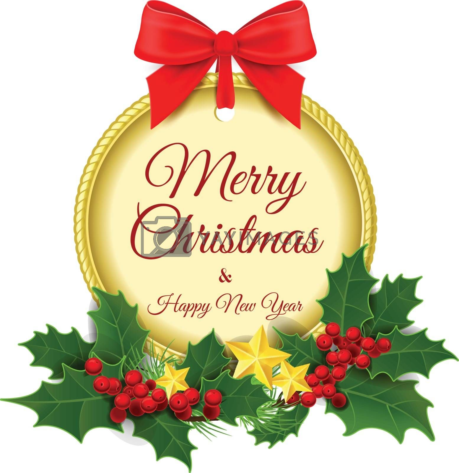 Vector illustration. Merry Christmas and a Happy New Year. Gold emblem, medal isolated on a white background with a garland of holly with Christmas gold ornaments. Gold medal. Christmas background. 2016