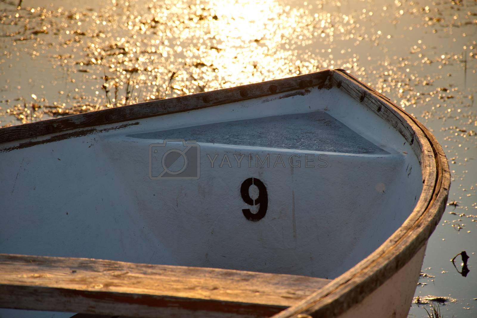 Boat number nine on a lake